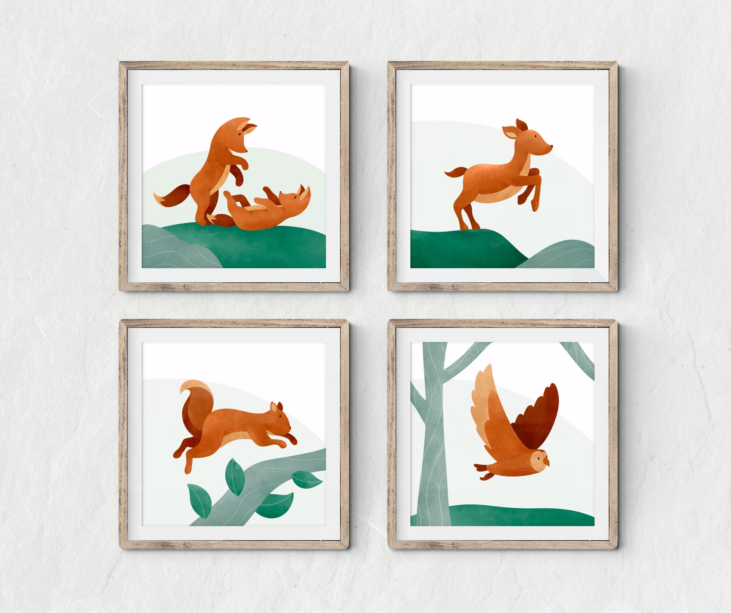 Woodland animals framed